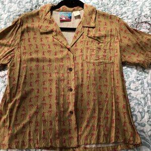 Reyns Women hulagirl/palm tree Camp shirt